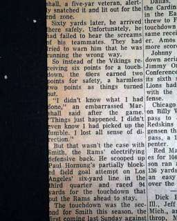 JIM MARSHALL Wrong Way Run NFL VIKINGS 1964 Newspaper *