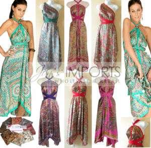 Wholesale Lot 5 Silk Multi Wear Scarf Long Maxi Dress