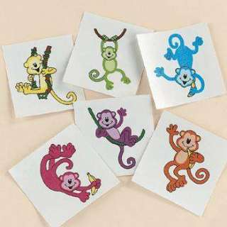 Crazy NEON MONKEY Temporary TATTOOS Kids Birthday Luau Party Favors 3