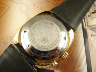 60s VULCAIN ANDRE PAILET MEN VINTAGE ALARM WATCH TIGER EYE DIAL WOW