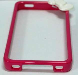 Hello Kitty bumper Case 3D design White Bowknot Hot Pink Bumper for