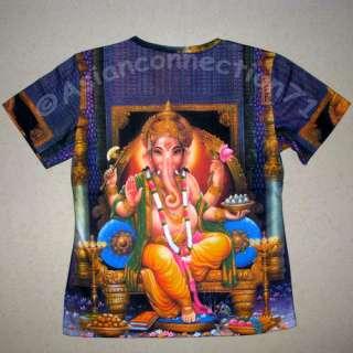 Hindu Ganapati God Fine Art Hand Print T Shirt Misses Size M