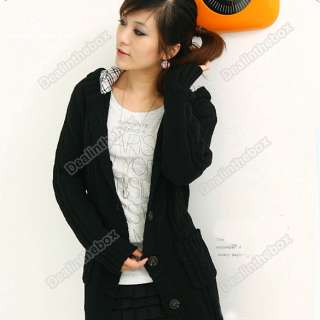 New Womens Long Sleeve Hoodie Coat Cardigans trench Sweater + 1 belt