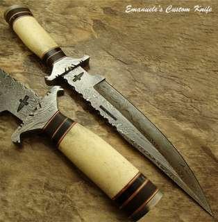 Emanueles 1 OF A KIND CUSTOM DAMASCUS BOWIE KNIFE  REAL CAMEL BONE