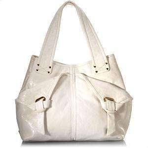 Ivory White Leather Shoulder Bag Handbag $595 (Save $345.10)