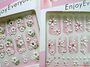 10 PACKS OF 3D FLORAL BRIDAL NAIL ART STICKERS DECALS $