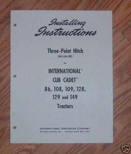 CUB CADET 3 POINT HITCH INSTALLATION INSTRUCTIONS