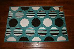 3X4 Kitchen Rug Washable Mat Rugs Blue Brown White Circles Pattern