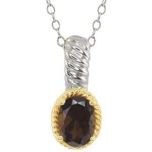 20 Ct Oval Brown Smoky Quartz Sterling Silver 10k Yellow Gold Pendant