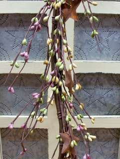 PRIMITIVE WISPY PIP BERRY GARLANDS, ASSORTED COLORS, SOME WITH STARS