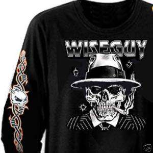 NEW Wise Guy Skull Mobster Biker L/S T Shirt (M 4XL)