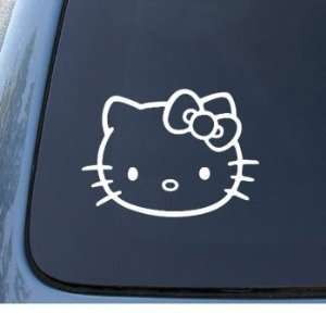 HELLO KITTY FACE   5.5 WHITE Decal   Cat Feline   Car