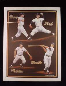 YANKEES PRINT WITH MANTLE, MARIS, FORD, MARTIN NUMBER 476/500