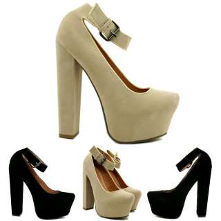 NEW WOMENS SUEDE STYLE BLOCK HEEL CONCEALED PLATFORM POINTY TOE COURT