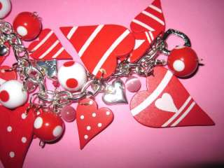 OOAK Valentines Day Charm Bracelet Vintage Style Jewelry Love Hearts