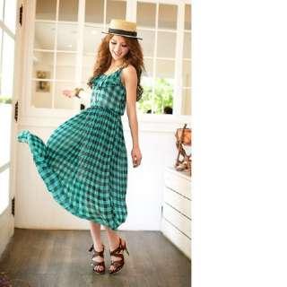 Women Spaghetti Strap Plaid Dress,8329L,BNWT,GREEN,1 sz