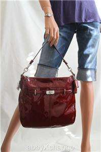 New COACH Chelsea Patent Leather ASHLEY HOBO Bag 17861 NWT Red Wine