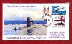 USS GEORGE WASHINGTON SSBN 598 Submarine Polaris Firing