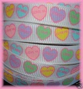 VALENTINE CONVERSATION CANDY HEART GROSGRAIN RIBBON 50YD ROLL