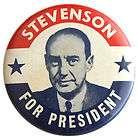 Adlai Stevenson 1952 Presidential Campaign Button Pin