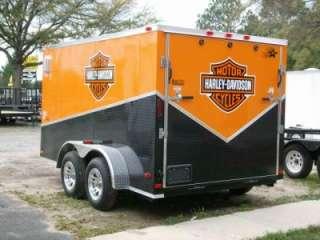 7x12 enclosed double motorcycle trailer black ATP slant pkg orange
