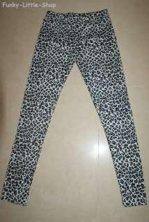 white leopard print leggings tight pants rock emo pt392