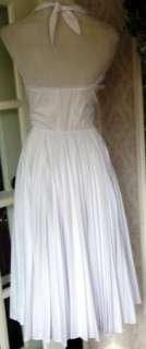 VTG 70s White Pleated Halter Marilyn Monroe Dress M