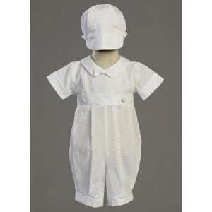 Embroidered Cotton Boys Baptism/Christening Romper: Baby