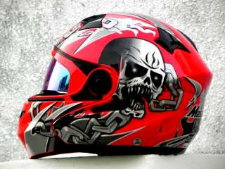Masei 815 Skull Flip up DOT Motorcycle Helmet RED XL XXL