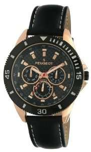 Peugeot Mens 2031RG Rose Gold Multi Function Black