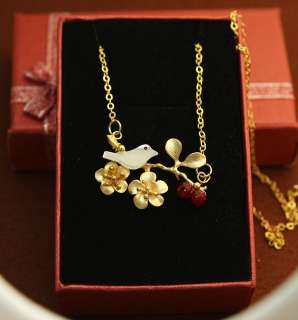 Cherry Blossom Branch & White Bird Gold Plated Necklace