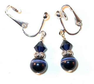 SWAROVSKI CRYSTAL Elements & CATSEYE Sterling Silver Earrings Indigo