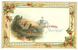 NEW YEARS GREETINGS POSTCARDS   EARLY 1900s  SET OF 4