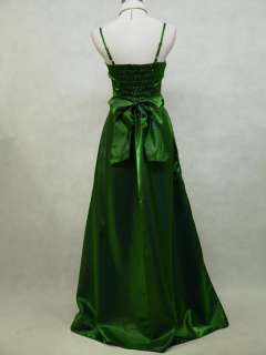 Satin Dark Green Sparkle Ball/Prom Gown Wedding/Evening Dress UK 12 14