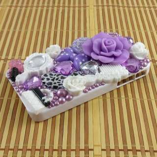 Lovely Purple Flower Pearl Crystal Rhinestone Hard Case Cover For
