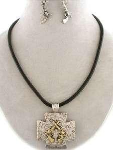 Western Six Shooter Pistol Gun Cowgirl Cross Necklace