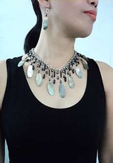 ABALONE SHELL/WOOD AND LUCITE NECKLACE & EARRINGS SET