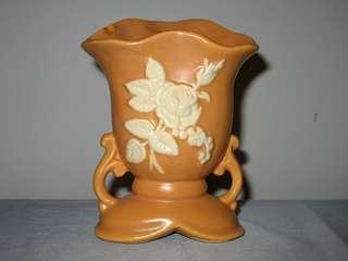Weller Pottery Camio Vase Aprocit Color White Rose Signed Base Weller