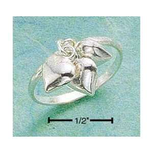STERLING SILVER TRIPLE HEART CHARM RING Jewelry