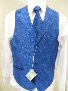 Mens Suit Tuxedo Dress Vest Necktie Bowtie Hanky Set Royal Blue