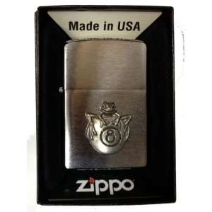 Zippo Custom Lighter   Frog on 8 Ball Pool Billiards Emblem Logo