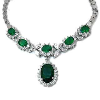 Wedding Jewelry Emerald 18K White Gold Plated Oval Cut Necklace For