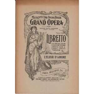 elixir of love)  a comic opera in wo acs Gaeano Donizei Books