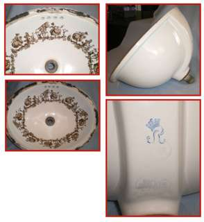 White Oval Porcelain Sink Gold Colored Victorian Figures Under Counter