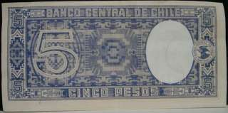 Tough 1940s Banco Central De Chile Cinco Pesos note. Condition is
