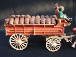 1950s PAINTED CAST IRON 16 FIRE FIGHTER WATER WAGON TOY