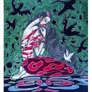 High Quality Chinese Batik Tapestry Girl Kiss Flower