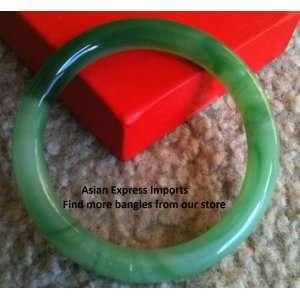 Yang Dark and Light Green Jade Bangle   small size