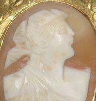 Antique Victorian Hand Carved Shell & Gold Cameo Brooch