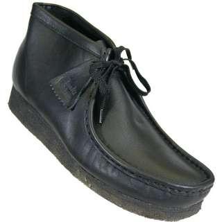 Clarks Mens Originals Wallabee Black Leather Boot